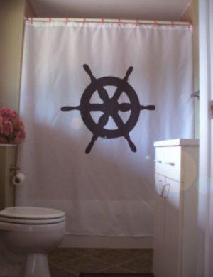 Bath Shower Curtain ships wheel helm steer boat ship sail