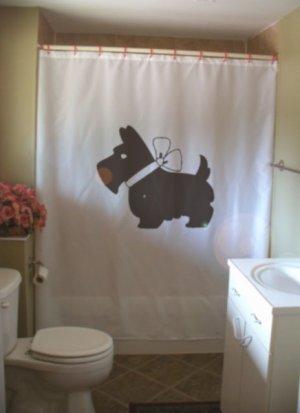 Bath Shower Curtain scottie dog bow Scottish terrier breed