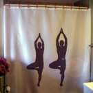 Bath Shower Curtain yoga duo couple balance health fitness