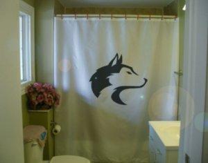 Bath Shower Curtain wolf head profile lupus predator pack