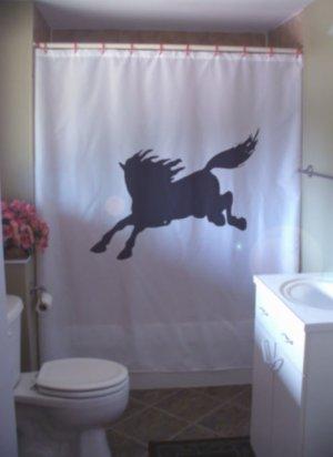 Bath Shower Curtain wild horse gallop run mane tail wind