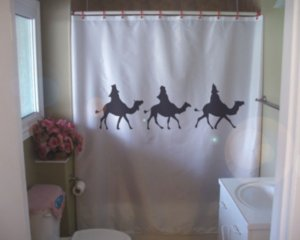 Bath Shower Curtain we three kings wise men christmas camels