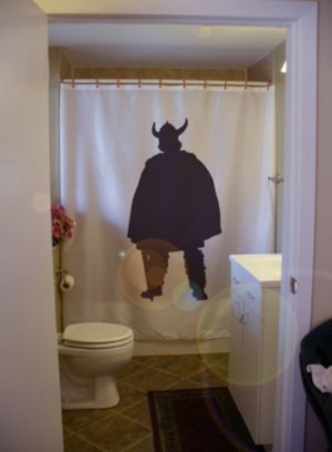 Bath Shower Curtain Viking Warrior Barbarian Horn Helmet War