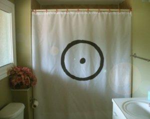 Bath Shower Curtain sun symbol solar sign circle dot center