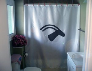 Bath Shower Curtain stag animal petroglyph cave wall paint