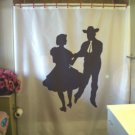 Bath Shower Curtain square dance couple old time folk dancer