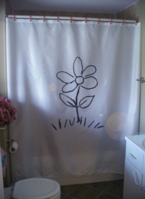 Bath Shower Curtain simple flower petal grass stem leaf draw