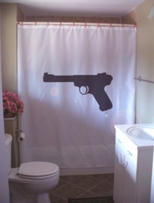Bath Shower Curtain Ruger Mark II rimfire semi pistol gun