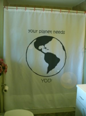 Bath Shower Curtain Planet Earth your world needs you globe