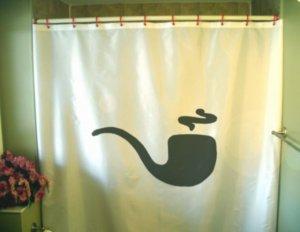 Bath Shower Curtain pipe smoke coil old fashioned tobacco