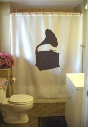Bath Shower Curtain phonograph gramophone record player horn