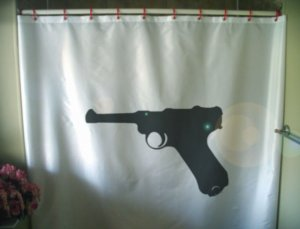 Bath Shower Curtain Parabellum 1586 luger p08 pistol German