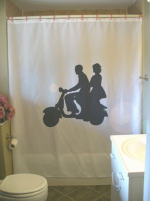 Bath Shower Curtain moped couple date love man woman ride