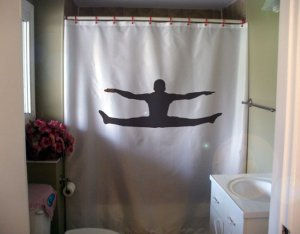 Bath Shower Curtain male gymnast jump gymnastics reach toe