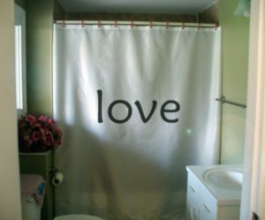 Bath Shower Curtain love inspire positive thinking motivate