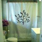Bath Shower Curtain leafy branch leaf nature twig tree wood