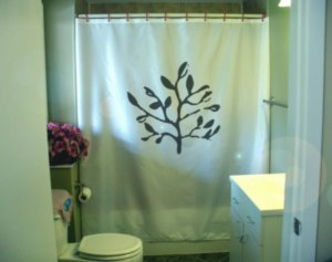 Bath Shower Curtain leafy branch leaf nature twig tree wood