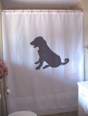 Bath Shower Curtain labrador retriever puppy pup dog friend
