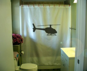 Bath Shower Curtain helicopter silhouette fly copter blade
