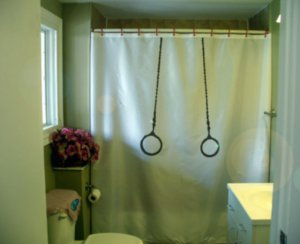 Bath Shower Curtain gymnastic hoop ring hang chain gymnast