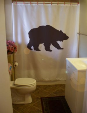 Bath Shower Curtain grizzly bear wild creature America black