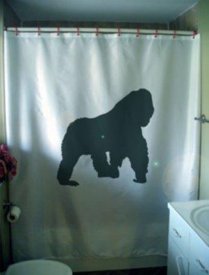Bath Shower Curtain gorilla in the mist primate ape nature