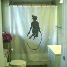 Bath Shower Curtain girl jumping rope jump skip skipping fun