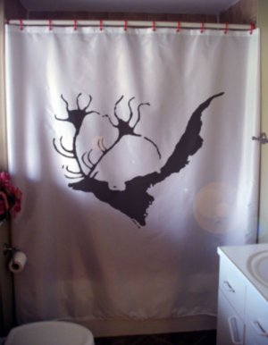 Bath Shower Curtain Giant Deer Lascaux Megaloceros cave wall