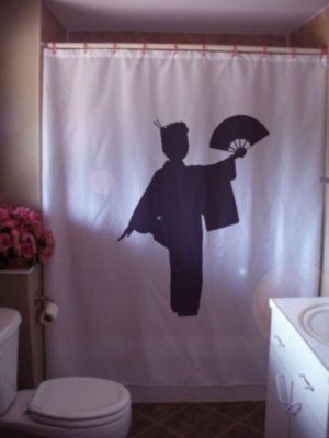 Bath Shower Curtain geisha lady fan Japan Japanese companion
