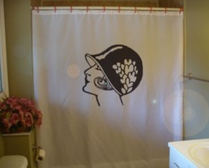 Bath Shower Curtain flapper modern woman cloche bell hat bob
