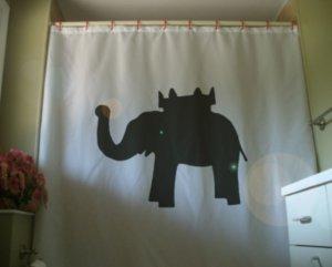 Bath Shower Curtain elephant and castle pub name inn coach