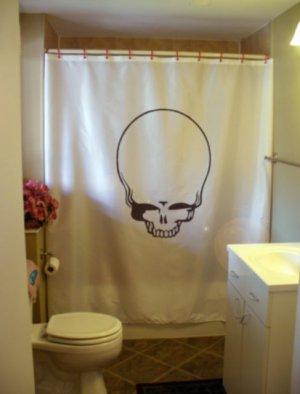 Bath Shower Curtain egg head skull skeleton death alien bone