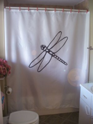 Bath Shower Curtain dragonfly insect fly wing long thorax