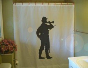 Bath Shower Curtain Civil War Soldier US American bugle army
