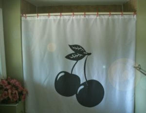 Bath Shower Curtain cherry cherries slot machine fruit leaf