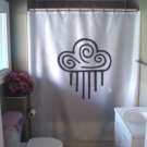 Bath Shower Curtain celestial cloud rain swirl native art