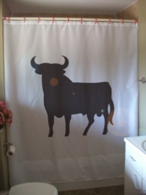 Bath Shower Curtain bull bovine cattle horn beef ox hoof