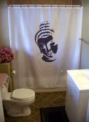 Bath Shower Curtain Buddha Head Bust Buddhism Buddhist Way