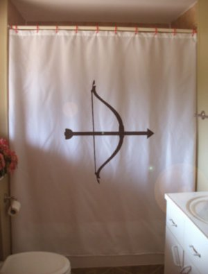 Bath Shower Curtain bow and arrow Cupid archer archery love