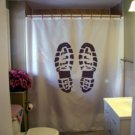 Bath Shower Curtain boot print leave your mark today mud day