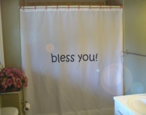 Bath Shower Curtain bless you inspiration love hope positive