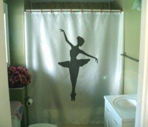 Bath Shower Curtain ballerina tutu ballet dance balance girl