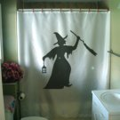 Bath Shower Curtain angry witch lantern broom hat ugly nose
