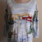 Christmas Shirt Top by Holiday Traditions Beaded Size Large