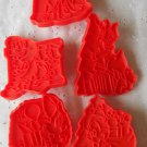 Cookie Cutters Disney Red Plastic Holiday Mickey Mouse Donald Duck Daisy Pluto Minnie Set of 5