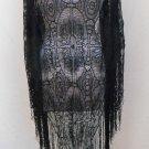 Lacy Black Shawl Vintage Wrapper Scarf Fringed Gypsy Bohemian Formal