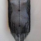 Lacy Black Poncho Fringed Mesh Gypsy Bohemian Formal