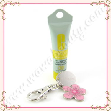 Clinique Sun-Care UV-Response Face Cream Sunscreen SPF 30 with Keychain, 0.24oz / 7ml
