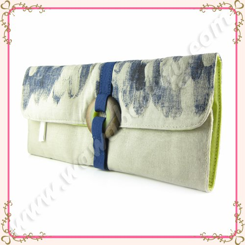 Lela Rose Exclusive Feather Painted Linen Designer Clutch Bag for Beauty.com