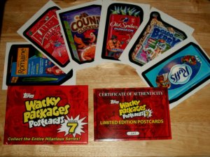 WACKY PACKAGES 2011 SERIES7 LIMITED EDITION SIGNED POSTCARDS W/COA 5OO MADE ONLY
